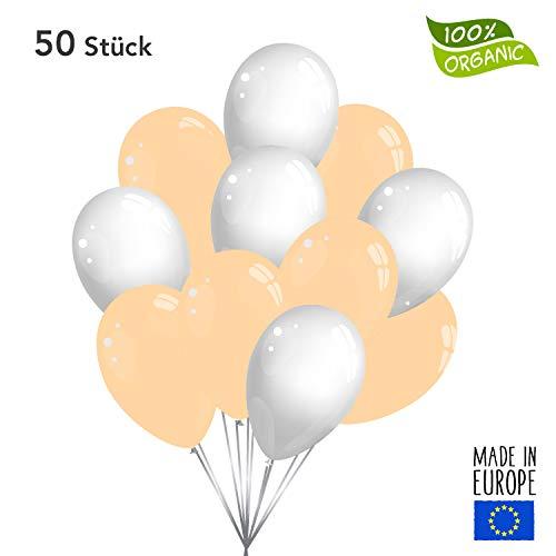 Twist4 50 Premium Luftballons in Pfirsich / Weiß - Made in EU - 100% Naturlatex somit 100% giftfrei und 100% biologisch abbaubar - Geburtstag Party Hochzeit - für Helium geeignet