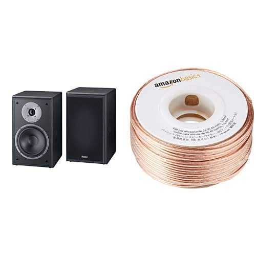Magnat Monitor Supreme 202 Altavoces de estantería (Hi-Fi, 93 dB, 100 W RMS), color negro + Amazon Basics Cable para altavoces (calibre 16, 2x1,3 mm², 30,48 m)