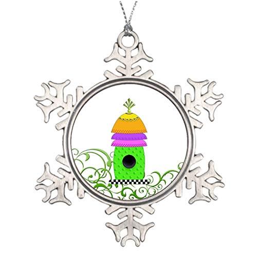 Cukudy kerstbomen versierd dambord basis vogelhuisje gekleurd glas kerst sneeuwvlok ornamenten vogelhuisje