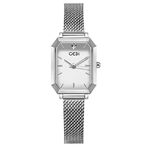RORIOS Mujer Relojes Cuarzo Analogico Relojes Cuadrado Acero Inoxidable Banda Mesh de Pulsera Moda Niña Reloje Women Watch