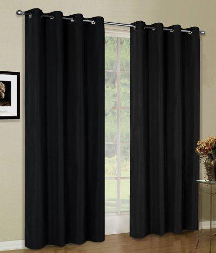 Vorhang Blickdicht Schal, 2 Stück 245x140 (HxB) Matte unifarbene Gardine mit Ösen, Schwarz Material aus Microsatin Micofaser-Gewebe, 204050