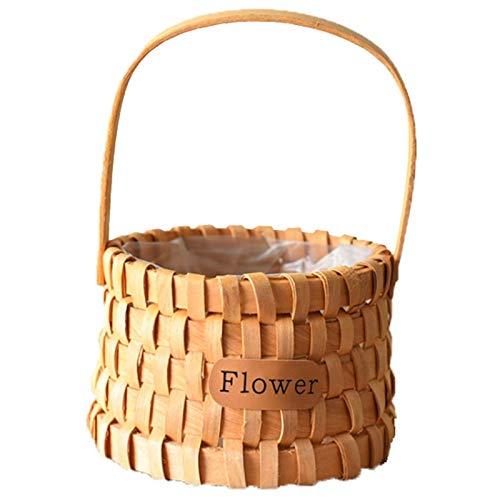 Fransande Cesta portátil tejida a mano, cesta de almacenamiento de flores de bambú para boda, camping, picnic, cocina, accesorios de fotografía, A