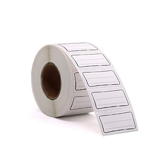 1000 Etiketten Selbstklebend Haushaltsetiketten auf Rolle 6x3 cm Designer von Sinoest Klebeetiketten Tiefkühletiketten Aufkleber weiß für Büro Küche Marmelade