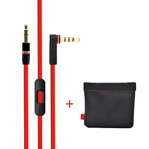 Preisvergleich Produktbild Replacement Cable For Dr Dre Beats Monster Headphones Control Remote Cord Pro Solo Studio Mixr Aux Auxiliary Lead (Black & Red)
