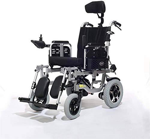 Silla de Ruedas eléctrica Plegable, Silla de ruedas, silla de ruedas eléctrica con automático de múltiples funciones portable, Viajes Aviación Segura, 360 ° Joystick, Anchura del asiento 18