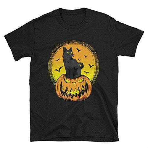 Cat Halloween T-Shirt Black Cat T Shirt Crazy Cat Lady Aesthetic Korean Style T-Shirt Women Ullzang Tee Women