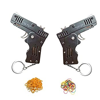 xinlong 2 Packs Rubber Band Gun Toy Mini Metal Folding Rubber Gun Rubber Launcher Toy Gunand with Keychain and Rubber Band 100+