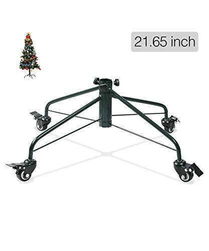 Ouvin Pied de sapin de Noël avec roulettes en métal et base en fer 4 pieds Décoration de fête, Métal, Vert,...