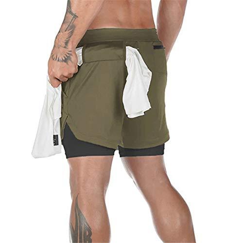 YUNSW Pantalones Cortos para Correr Deportivos para Hombre Pantalones Sueltos De Doble Capa...