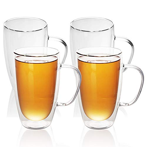 Intirilife 4X Doppelwandiges Thermo Glas Set in 400-500ml im – Mundgeblasen isoliert für Latte macciato, als Teeglas oder Kaffeeglas Spülmaschinen geeignet mit Henkel
