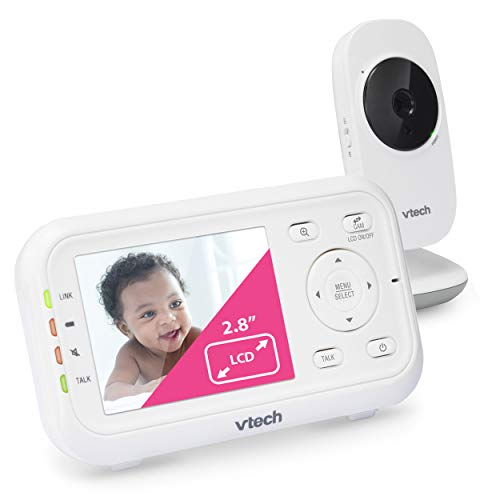 """VTech VM3252 Video Baby Monitor with 1000ft Long Range, Auto Night Vision, 2.8"""" Screen, 2-Way Audio Talk, Temperature Sensor, Power Saving Mode, Lullabies and Wall-mountable Camera with bracket"""