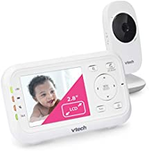 """VTech Video Baby Monitor with 1000ft Long Range, Auto Night Vision, 2.8"""" Screen, 2-Way Audio Talk, Temperature Sensor, Power Saving Mode, Lullabies and Wall-mountable Camera with bracket, White"""