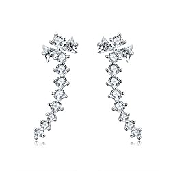 White Gold Plated Crawler Cuff Wrap Climber Earrings