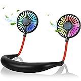 Yobenki 首掛け扇風機 2020年新発売 USB充電式 360°角度調整 3段階風量調節 携帯扇風機 超大容量 ミニ扇風機 寝室 車内 オフィスなど適用 (ブラック)