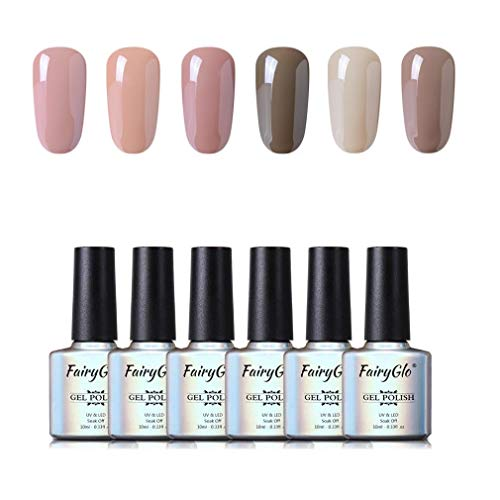 UV Nagellack Gel Nagellack Set Nail Polish Set Soak Off UV LED Gel Nude Farbe Von Fairyglo (6xStück 10ml)