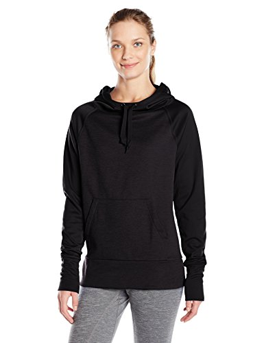 Hanes Women's Sport Performance Fleece Pullover Hoodie, Black Solid/Black Heather, L