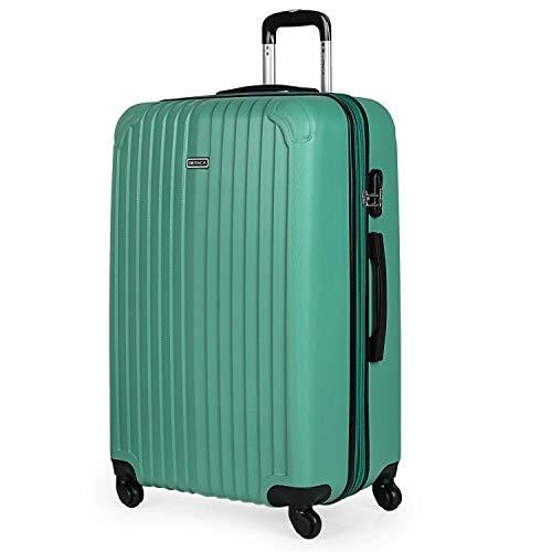ITACA - Maleta de Viaje Grande XL rígida 4 Ruedas Trolley 76 cm de abs. Dura Extensible y Ligera. Gran Capacidad. Estudiante y Profesional. candado Integrado. t71570, Color Verde Menta