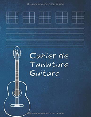 Cahier de musique pour guitare: 7 tablatures et 6 diagrammes d'accords par page | 110 pages vierges-Tablatures et Portées | Couverture moderne | ... création musicale | DIAGRAMMES ET PARTITIONS