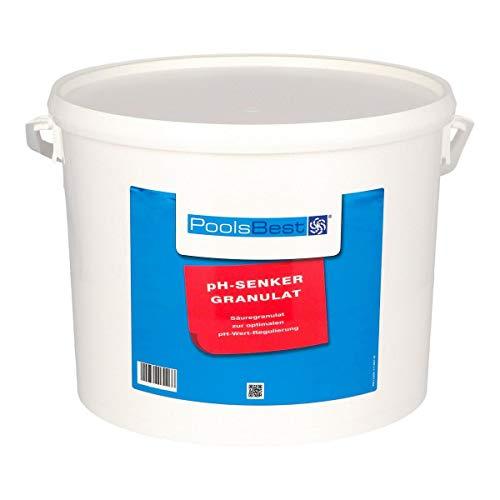 POOLSBEST® 10 kg pH Senker Granulat für Pools - wirksames Granulat inklusive Messbecher - pH Minus zur optimalen pH-Wert Stabilisierung