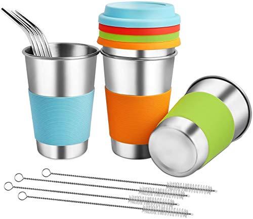 GLUBEE Vasos con tapa y pajita, 450 ml 4 tazas de café, taza de viaje para café, té y bebidas frías, termo, hervidor de acero inoxidable sin BPA con tapa y pajita