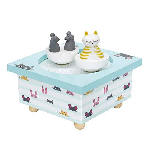 Trousselier - Katze & Maus - Tanzende Musikbox - Spieluhr -Ideales Geburtsgeschenk - 2 abnehmbare Figuren - Einfache Bedienung - Musik Love Story - Farbe blau