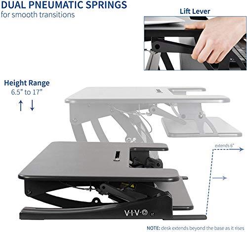 VIVO Black Height Adjustable 36 inch Stand up Desk Converter Quick Sit to Stand Tabletop Dual Monitor Riser (DESK-V000V)