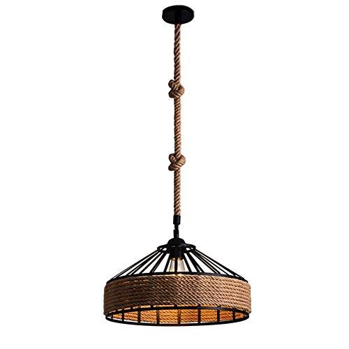 Las Lámparas Industriales Del Vintage Desvían El Zócalo E27 Del Tenedor De Las Luces De Techo De La Cuerda Del Cáñamo (Color : S-30cm)