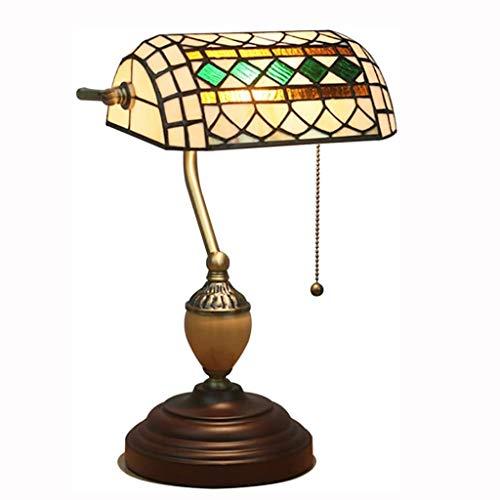 BDXZJ Lámpara de Mesa Tiffany Banquero Barroco Deco Manchada con Interruptor de Sombra Lámpara de Mesa para Tirar Oficina Noche Vidrio Retro para Sala de Estar Dormitorio