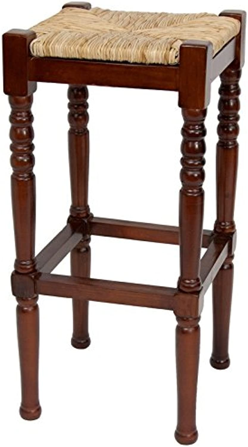 Oriental Furniture 29-Inch Classic Woven Top Barstool, Cherry