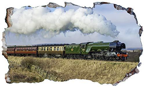 Chicbanners V004 Wandtattoo, Motiv The Flying Scotsman, Dampflok, 3D-Effekt, selbstklebend, Größe 1000 mm breit x 600 mm tief