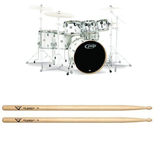 PDP By DW 7-Piece Concept Maple Shell Pack with Chrome Hardware Pearlescent White with Drum Sticks, Pair