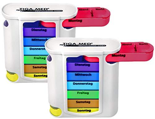 2 Stück TIGA-MED Bunte Tablettenbox für 7 Tage - Pillendose - Medikamentendosierer - Medi Box - Medikamentenspender - Wochendispenser