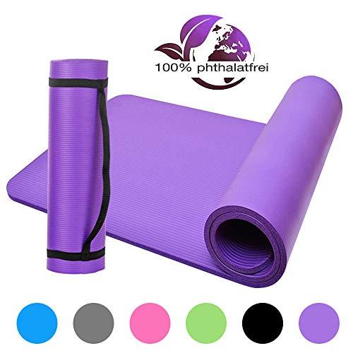 Lixada Gymnastikmatte NBR Yogamatte Geschlossenzellige Schaumkörper Yogamatte Trainingsmatte 183 * 61 * 1cm (Lila)