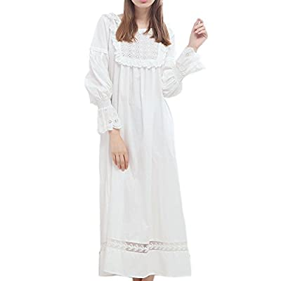 Singingqueen Women White Cotton Nightgown Pajamas Long Sleeve Nightdress Babydoll Sleepwear Victorian Loungewear