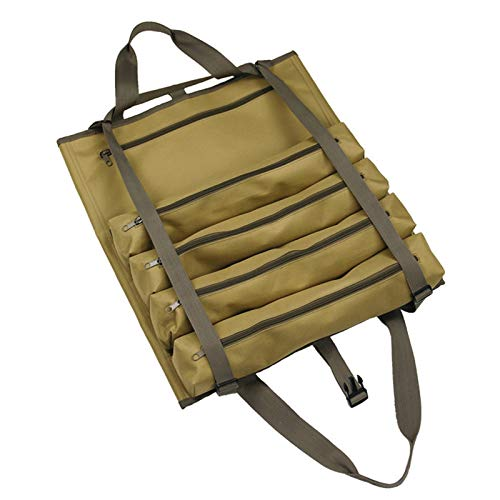 Súper Roll Tool Bag Compact Canvas Herramienta Roll-Up Touch Asiento de coche Atrás Organizador con bolsillos con cremallera Herramienta Organizador Portador Bolsa Herramienta Organizador Cubeta para