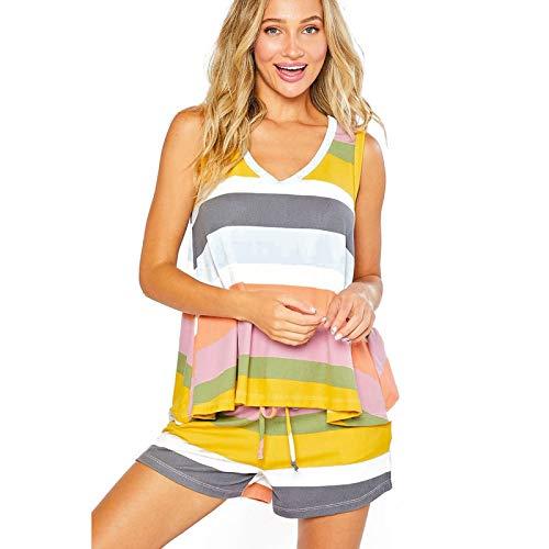 GDFSG Conjunto de Pijama para Mujer Soft Sweetness Cami Conjuntos de Pantalones Cortos Conjunto de Ropa de Dormir con Chaleco de Dos Piezas para Cubrir el Vientre Traje de baño de Playa