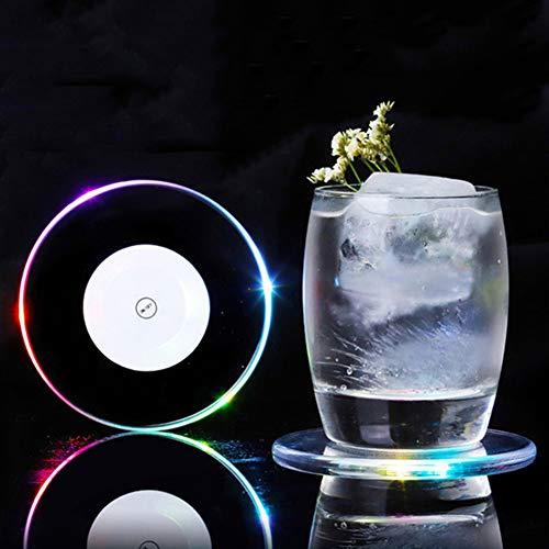 KEEDA 8 Stück Acryl Ultradünn LED Untersetzer, Leuchtende Untersetzer Flaschenverherrlicher Glas Matte Lichter für Cocktail, Bier, Champagner, Getränke, Wein