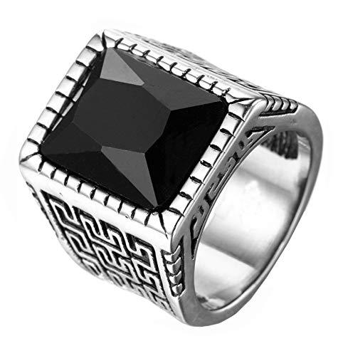 HIJONES Plata Anillo Grabado para Hombre Acero Inoxidable con Negro Piedra Preciosa Tamaño 22