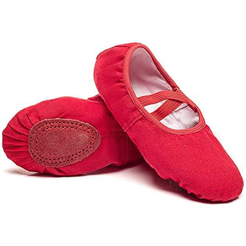 AGYE Zapatos de Ballet Lona,Zapatillas de Baile para Niñas, Zapatos de Yoga Gimnásticos, Suela Partida Plana para Niños y Adultos,Red-26=(17cm)