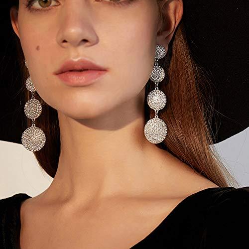 fxmimior Fashion Women Silver Rhinestones Circle Earrings Long Chain Drop Dangle Earrings Jewelry