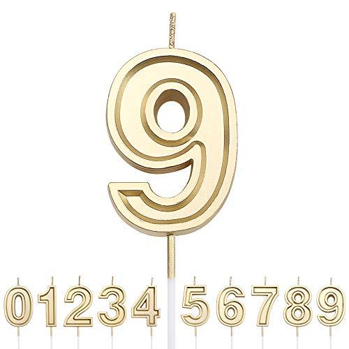 URAQT Candele di Compleanno Numbero, Candele di Compleanno Oro Glitter, Adatto A Feste di Compleanno, Feste di Anniversario di Matrimonio, Serate di Laurea, 9