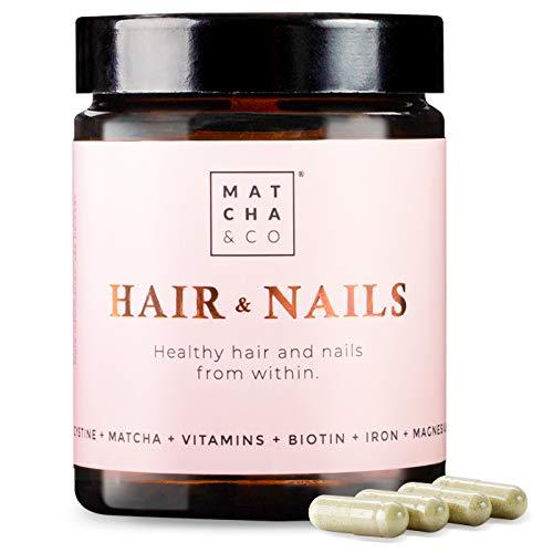 Hair & Nails. Fortalece y evita la caída del cabello. Uñas más resistentes. Multivitaminas, Biotina, Zinc, Hierro, Magnesio, Matcha. 60 cápsulas