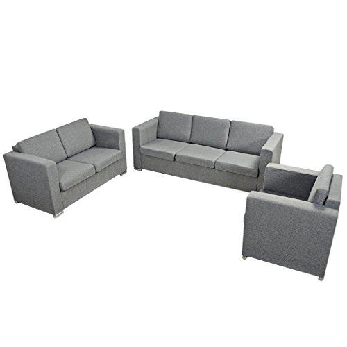 Festnight 3-teilig Sofa Set Couch Loungesofa Wohnzimmersofa Sofagarnitur inkl. Einzel-Sofa, 2-Sitzer-Sofa und 3-Sitzer-Sofa Stoffpolsterung Hellgrau