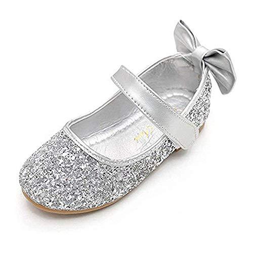 YING LAN Girl Round-Toe Sparkle Bowknot Ballet Ballerina Flat Shoes Silver