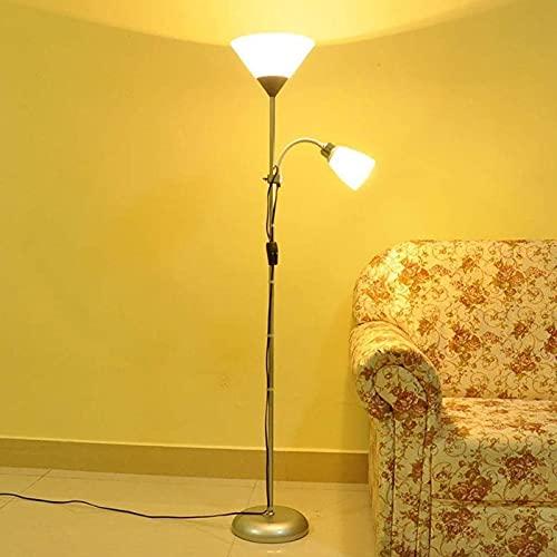 DHFUIH Novedad Lámpara de Piso con luz LED Lámpara de antorcha Lámpara Madre Pantalla esmerilada, 2 Luces Lámpara de Piso (decoración del hogar)