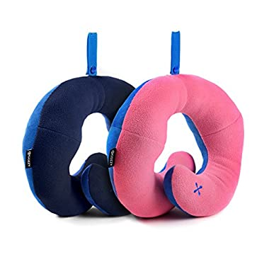 BCOZZY Chin Supporting Travel Neck Pillow - Supports the Head, Neck Chin in in Any Sitting Position. A Patented Product. Discount- Set of 2. Adult Size, NAVY+PINK