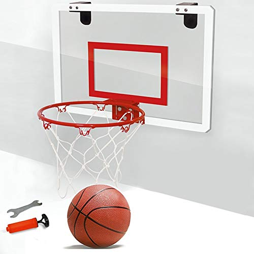 SPLLEADER Basketball Indoor Shatterproof Backboard Minisport Schlags Freies Spielzeug Rebounds Wandbehang Kinder Basketballkorb Set Mit Kugel-Stahlfelge (Color : Rot)