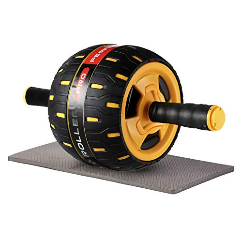 unhg Ab Roller, Home Abdominal Exercise Equipment Core Workout Machine Wider Ab Roller Wheel with Resistant Band (Yellow with Black)