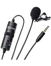 BOYA - BY-M1 - Micrófono de condensador Lavalier, de 3,5 mm, con parabrisas AriMic, para smartphones, videocámaras y grabadora DSLR Único BY-M1 BY-M1