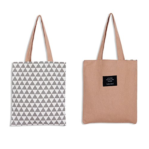 LAAT Bolsa para la compra plegable y reutilizable–Bandolera de algodón, una solución ecológica para ir al mercado–5colores, Rose, 37x33cm